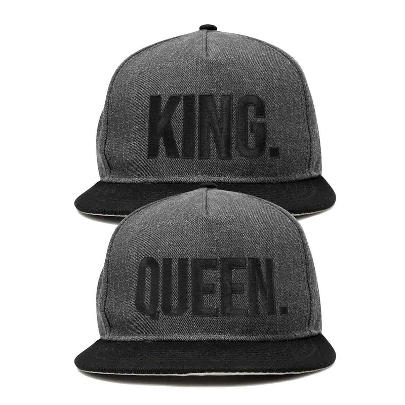 DALIX King Queen Hat Set Mens Womens Flat Bill Couples Cap
