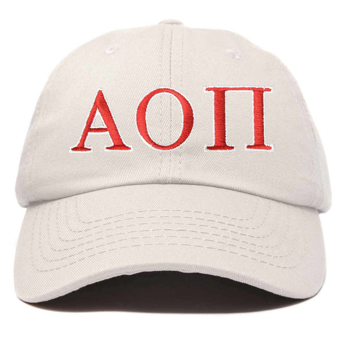 Alpha Omicron Pi Fraternity Hat Womens Greek Letters Embroidered Baseball Cap