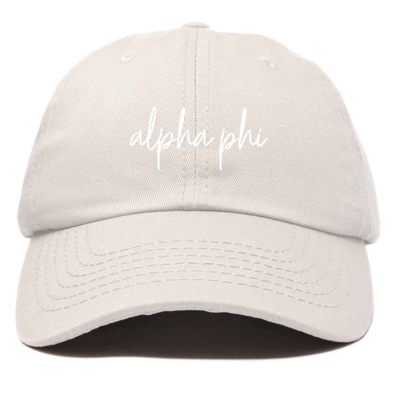 Alpha Phi Cursive Hat Womens Embroidered Baseball Cap