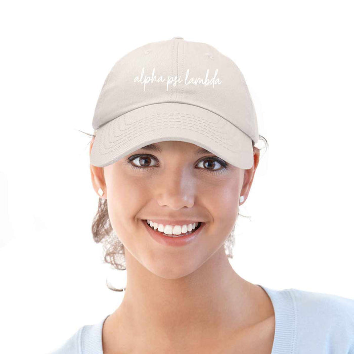 Alpha Psi Lambda Cursive Fraternity Hat Womens Embroidered Baseball Cap