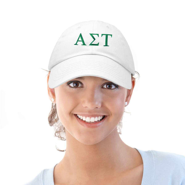 Alpha Sigma Tau Sorority Hat Womens Greek Letters Embroidered Baseball Cap