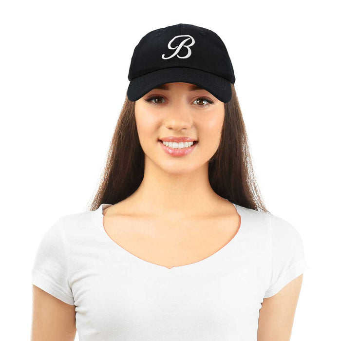 DALIX Initial Hat Letter B Womens Baseball Cap Monogram Cursive Embroidered
