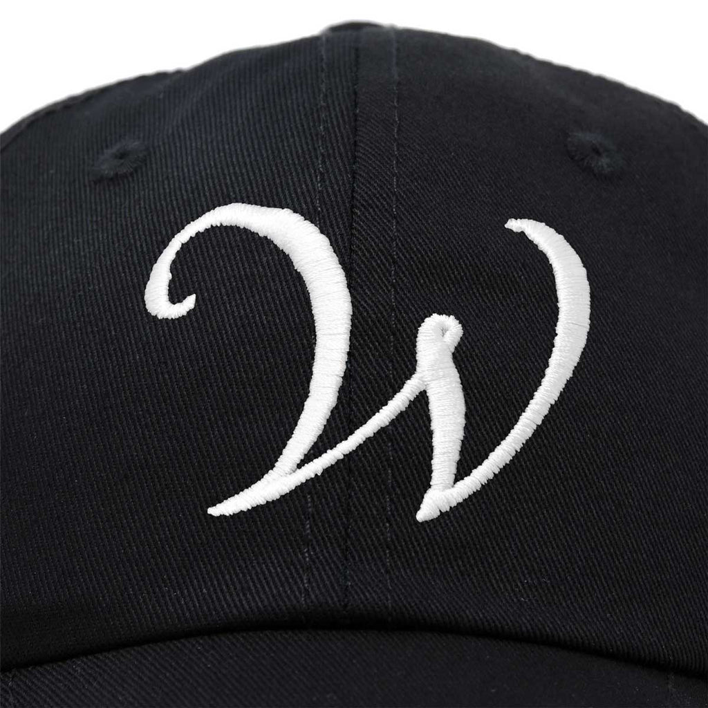 DALIX Initial Hat Letter W Womens Baseball Cap Monogram Cursive Embroider