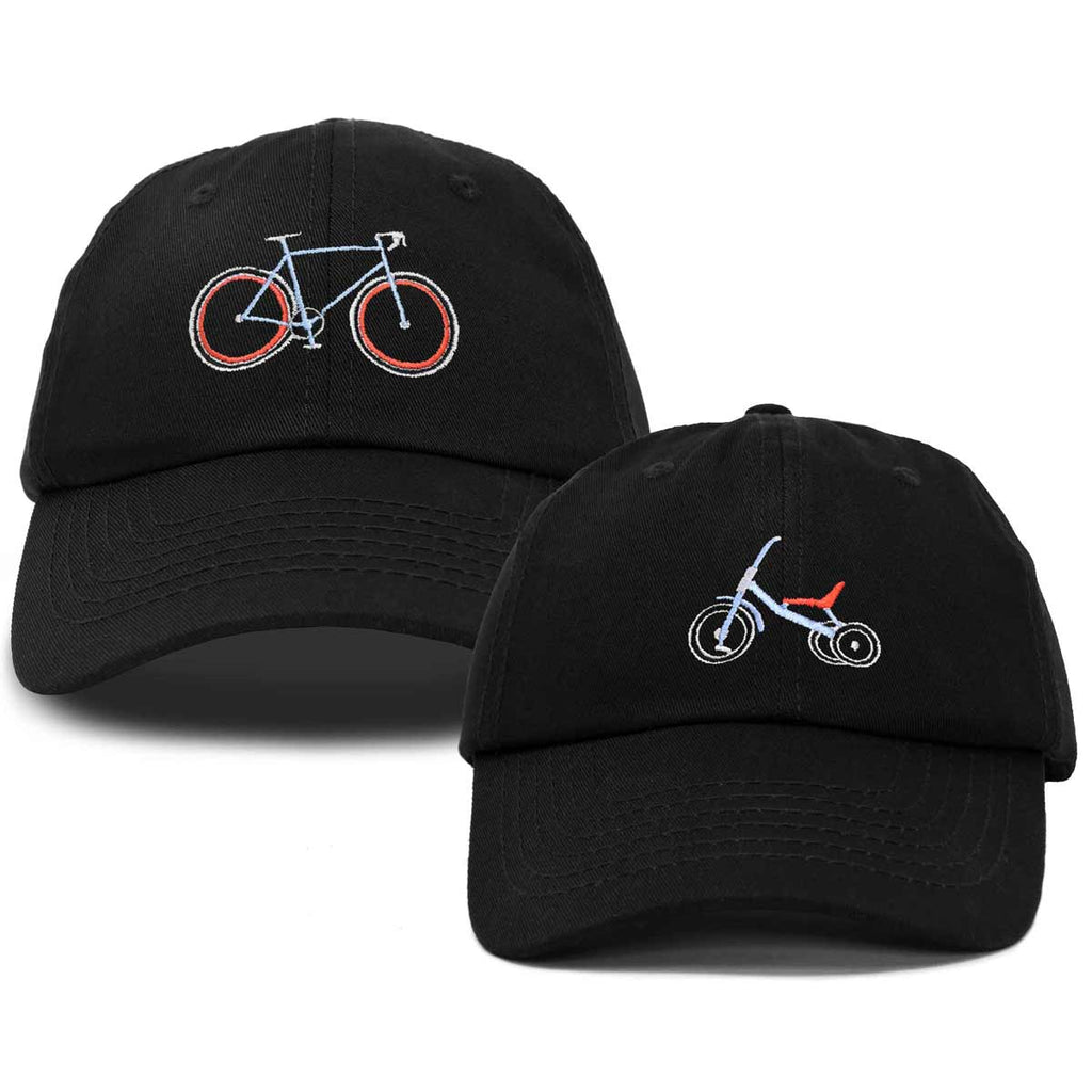 DALIX Father Son Bicycle Tricycle Matching Ball Cap Embroidered Hat Set