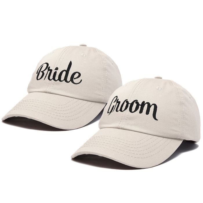 DALIX Bride Groom Dad Hats Baseball Caps Newlywed Wedding Party Gift