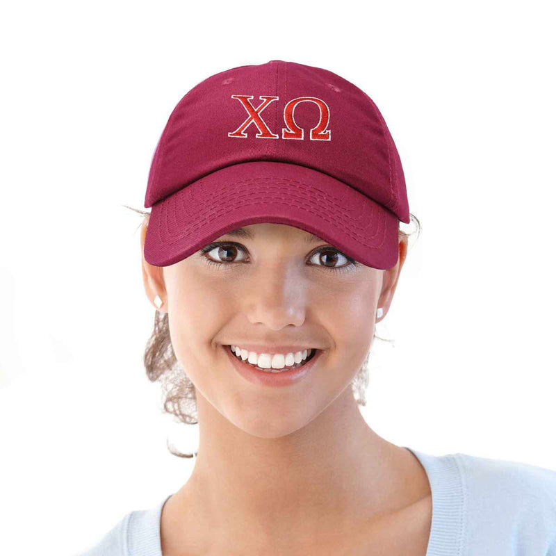 Chi Omega Sorority Hat Womens Greek Letters Embroidered Baseball Cap