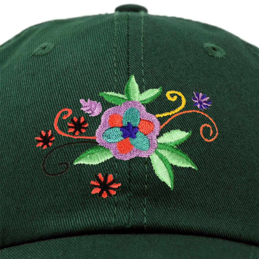 DALIX Floral Cosmos Hat Womens Embroidered Baseball Cap