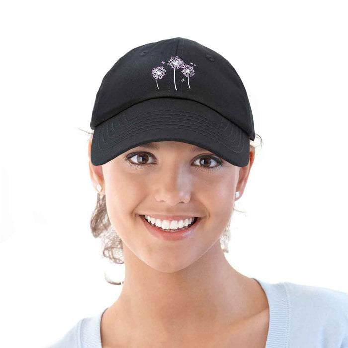 DALIX Floral Dandelion Hat Womens Embroidered Baseball Cap Black
