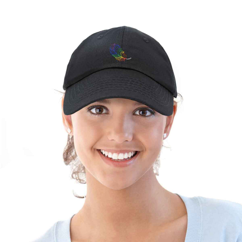 DALIX Rainbow Feather Hat Womens Embroidered Baseball Cap Black
