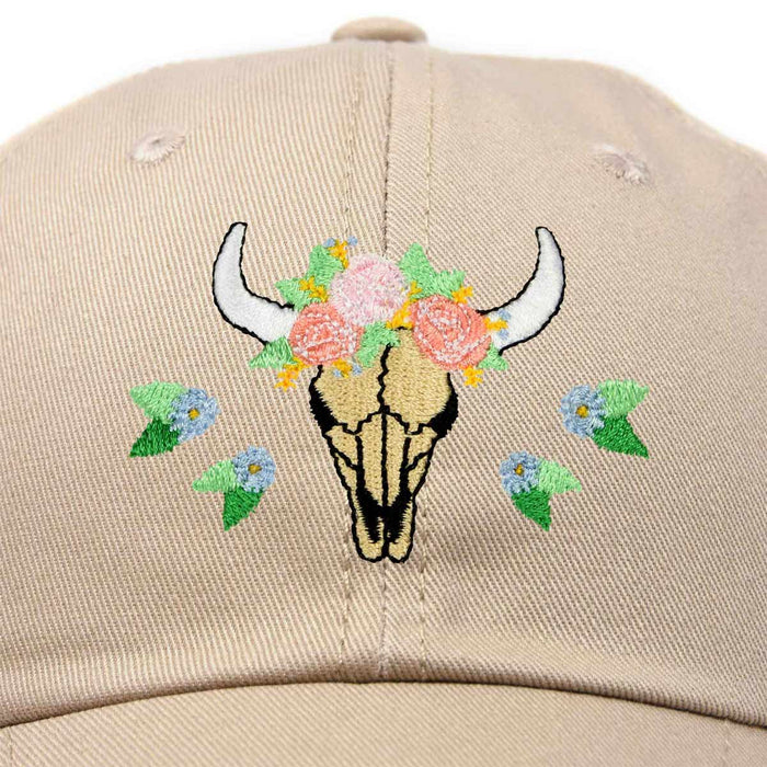 DALIX Latin Floral Bull Hat Womens Embroidered Baseball Cap