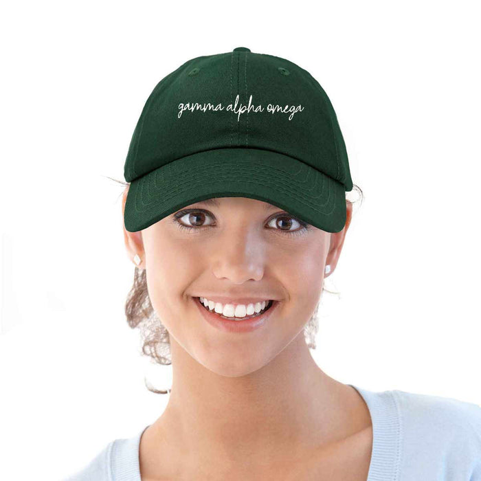Gamma Alpha Omega Cursive Sorority Hat Womens Embroidered Baseball Cap