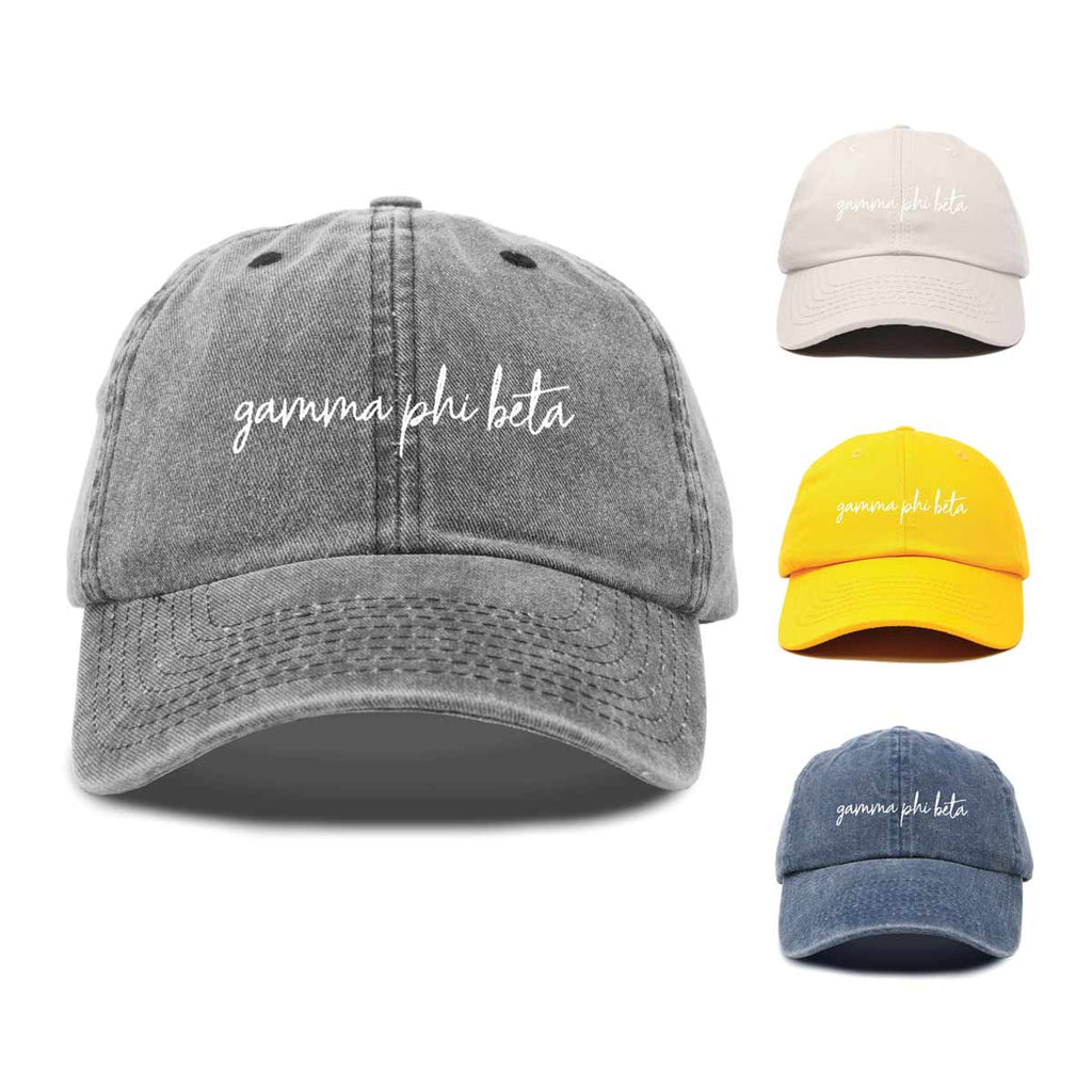 Gamma Phi Beta Cursive Sorority Hat Womens Embroidered Baseball Cap