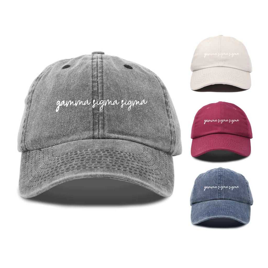Gamma Sigma Sigma Cursive Sorority Hat Womens Embroidered Baseball Cap