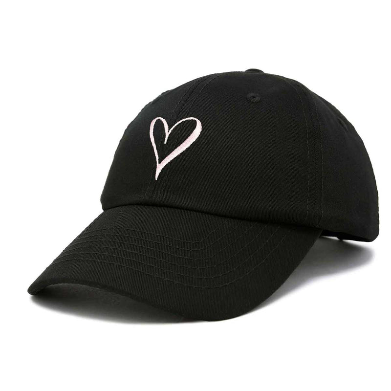 DALIX Hand Drawn Heart Hat Womens Embroidered Baseball Cap