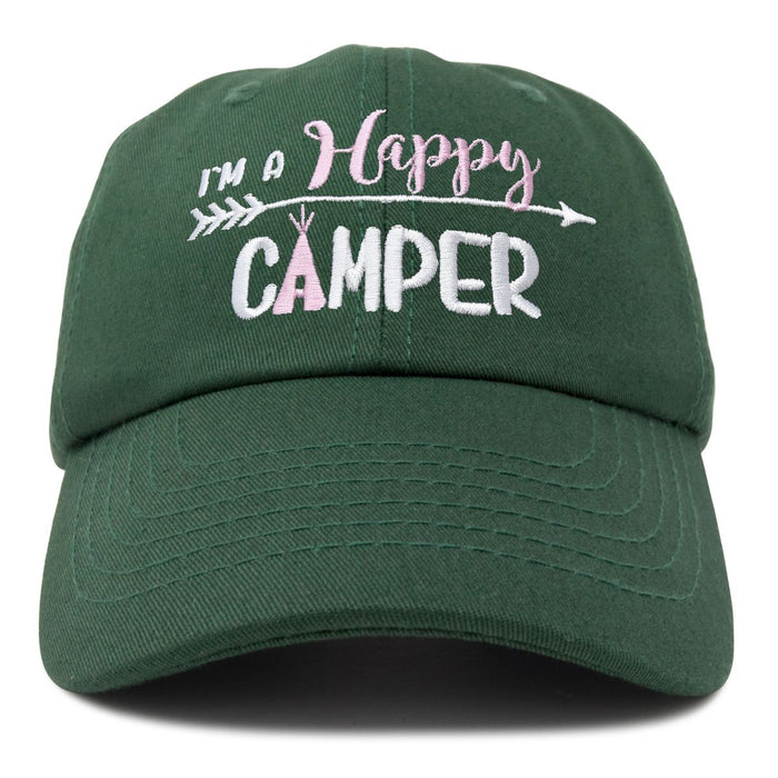 DALIX Womens Happy Camper Hat Soft Cotton Camping Caps
