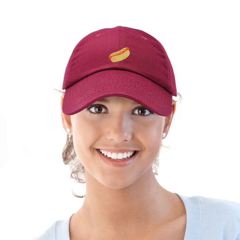 DALIX Hot Dog Hat Embroidered Mens Womens Baseball Cap