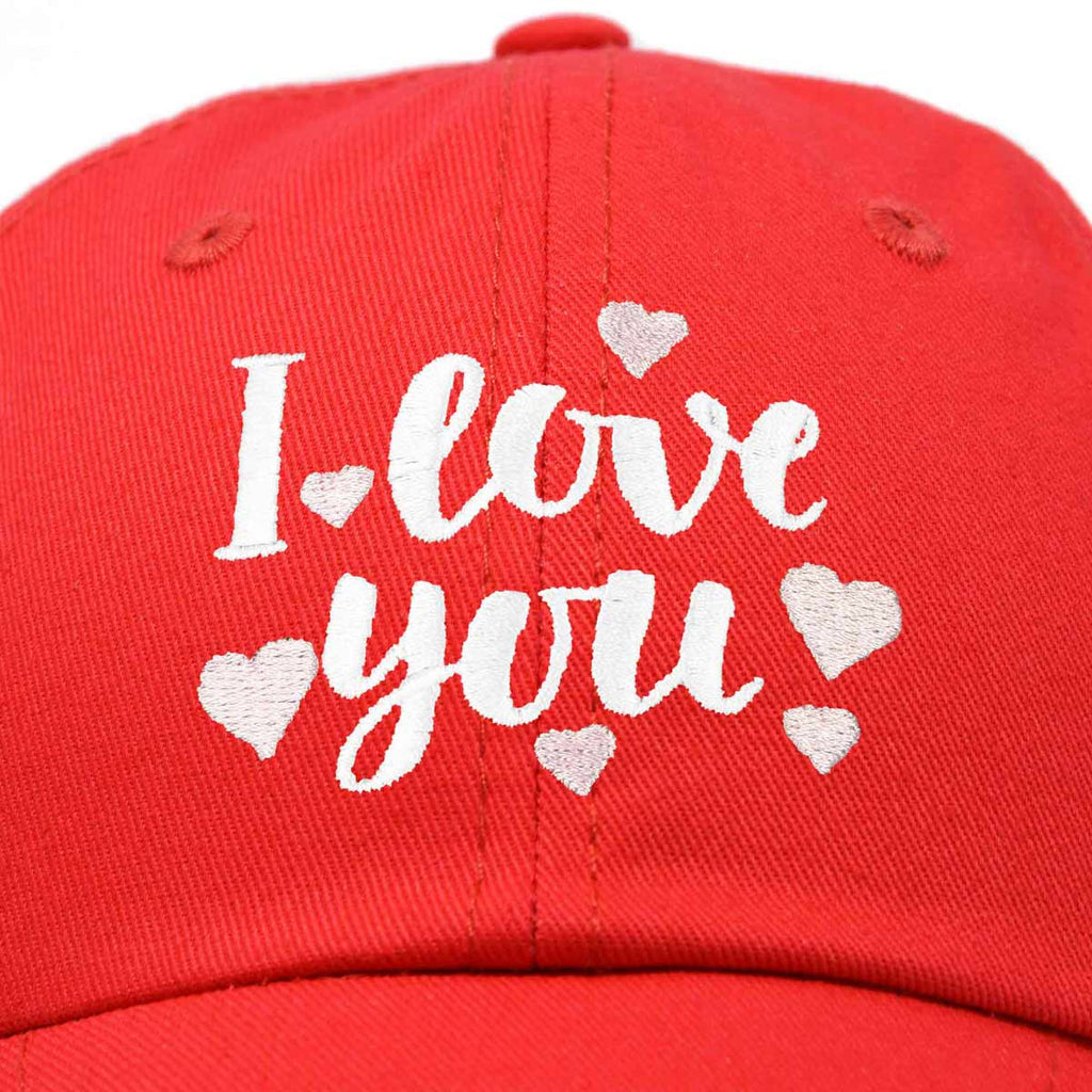 DALIX Cute Hearts I Love You Hat Womens Embroidered Baseball Cap