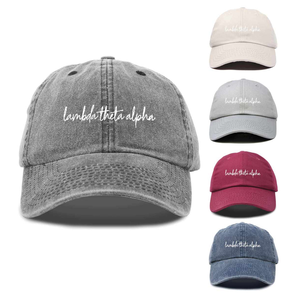Lambda Theta Alpha Sorority Hat Womens Cursive Embroidered Baseball Cap