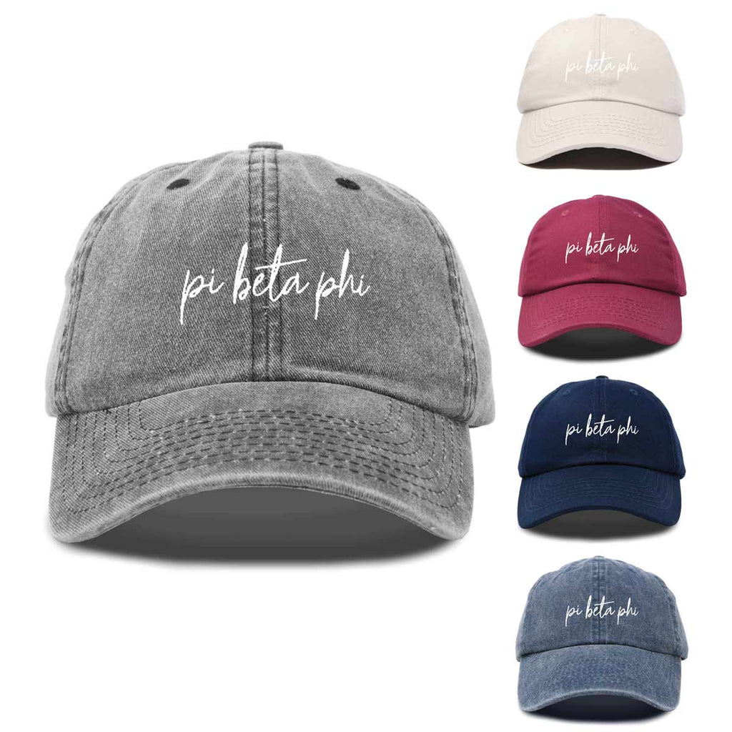 Pi Beta Phi Sorority Hat Womens Cursive Embroidered Baseball Cap