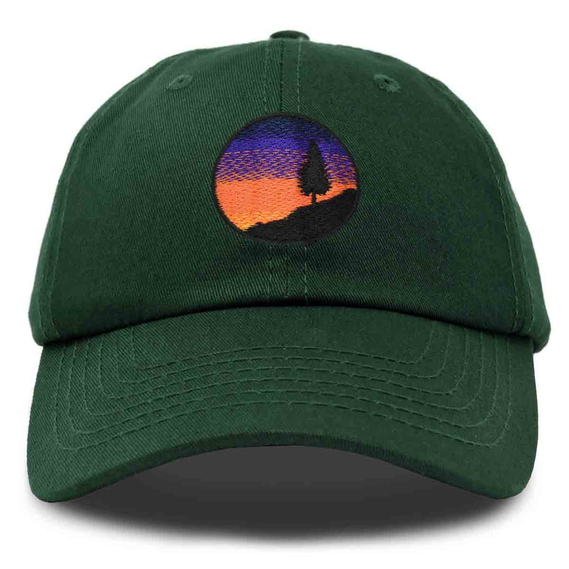 DALIX Sunset Pine Tree Dad Hat Womens Hiking Baseball Cap
