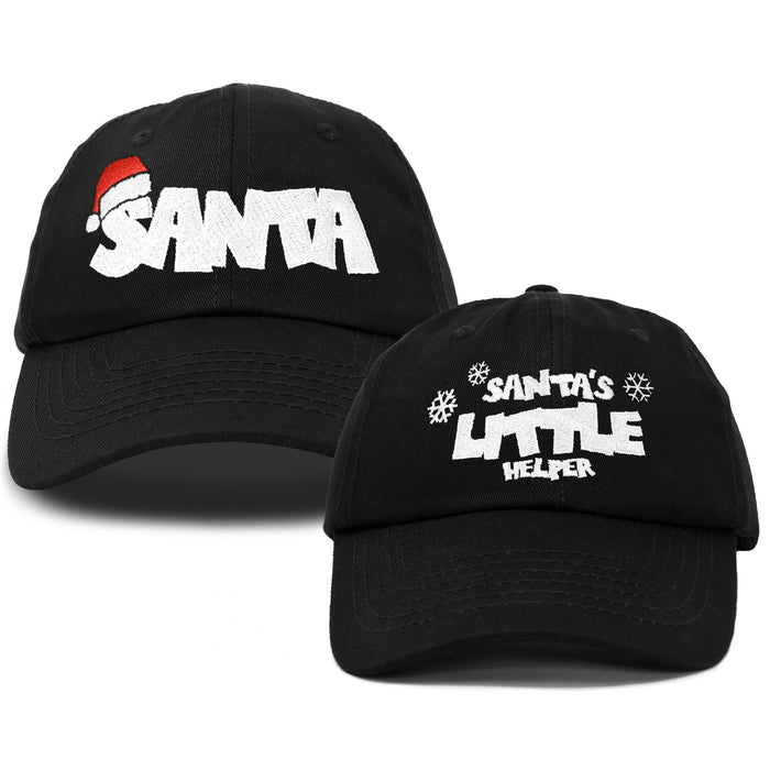 DALIX Father Son Santa Christmas Set Ball Cap Embroidered Hat