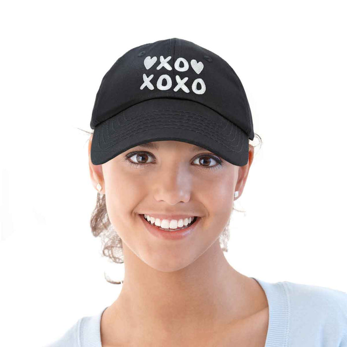 DALIX Hugs Kisses XOXO Hat Womens Embroidered Baseball Cap