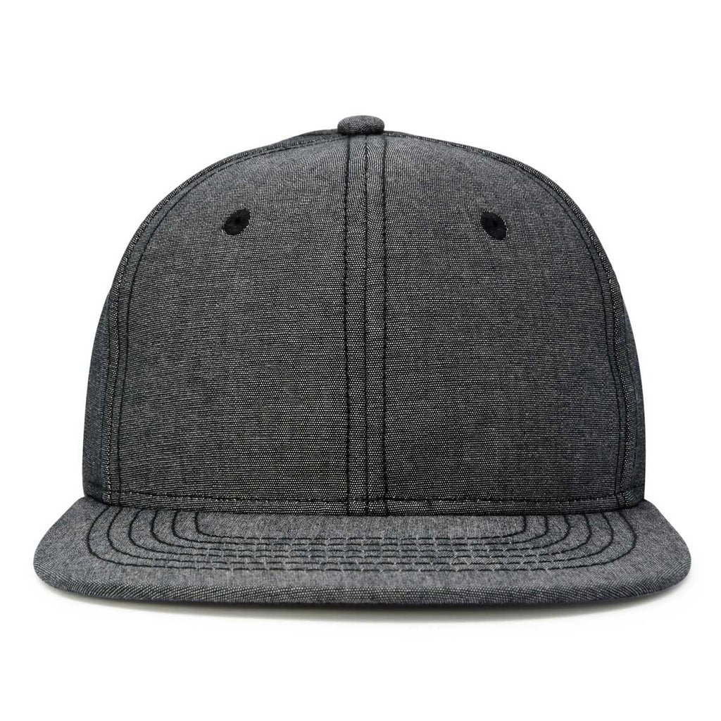DALIX Flat Bill Snapback Chambray Hat 6 Panel Cap