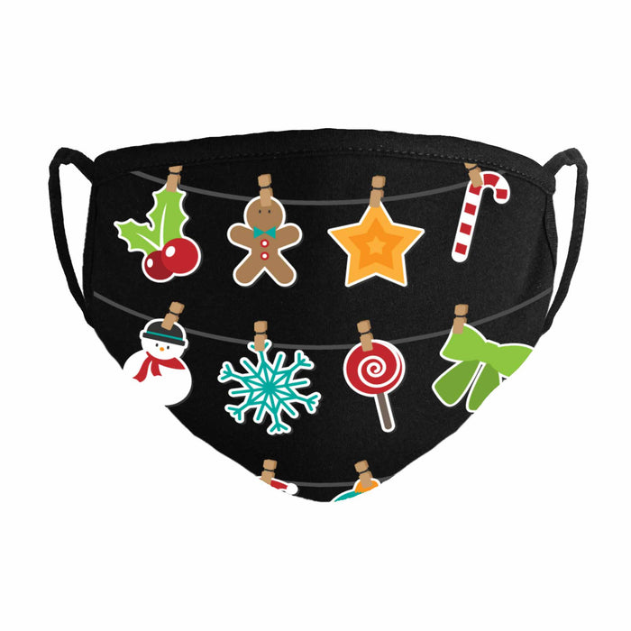 DALIX Printed Christmas Theme Face Masks Premium Cotton Made in USA