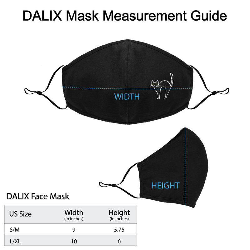 DALIX Embroidered Black Cat Cloth Face Masks Reuseable Washable Made in USA