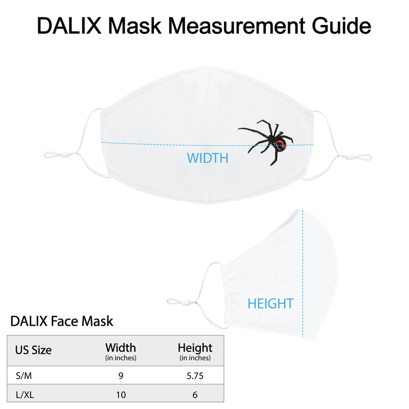 DALIX Embroidered Black Widow Cloth Face Masks Reuseable Washable Made in USA