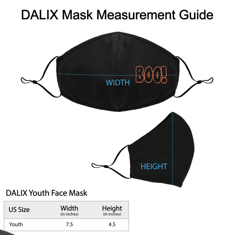DALIX Youth Embroidered Boo Face Mask Reusable Washable in Black Made in USA - XXS-XS Size