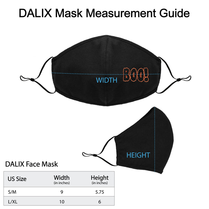 DALIX Boo Embroidered Cloth Face Mask Reuseable Washable in Black Made in USA