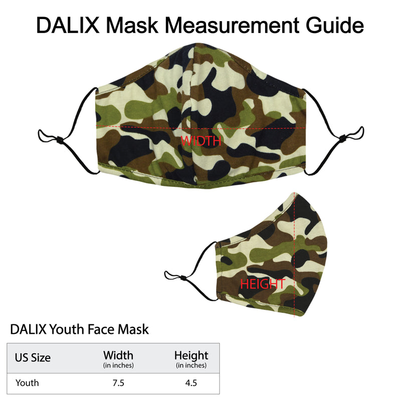 DALIX Youth Camo Cloth Face Mask Reusable Adjustable Nose Bridge Piece Washable Made in USA
