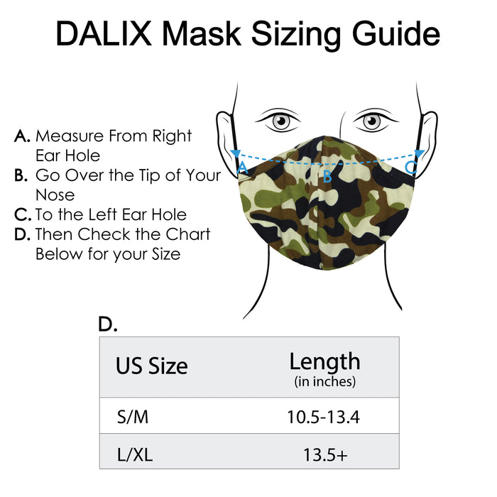 DALIX Camo Cloth Face Mask Adjustable Nose Piece Reuseable Washable Made in USA