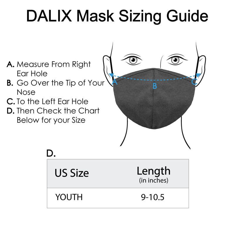 DALIX Kids Cotton Face Mask Reuseable Washable Made in USA - XXS-XS Size 3 Pack