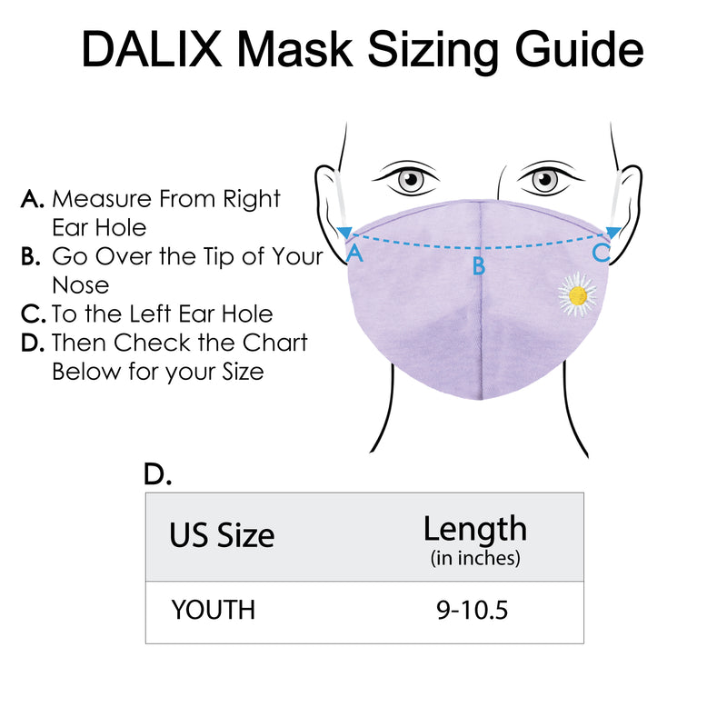 DALIX Kids Embroidered Daisy Cloth Face Masks Reuseable Washable Made in USA- XXS-XS