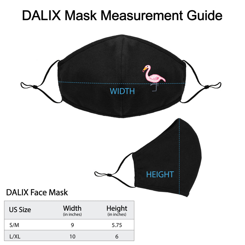 DALIX Womens Embroidered Flamingo Cloth Face Masks Reuseable Washable Made in USA