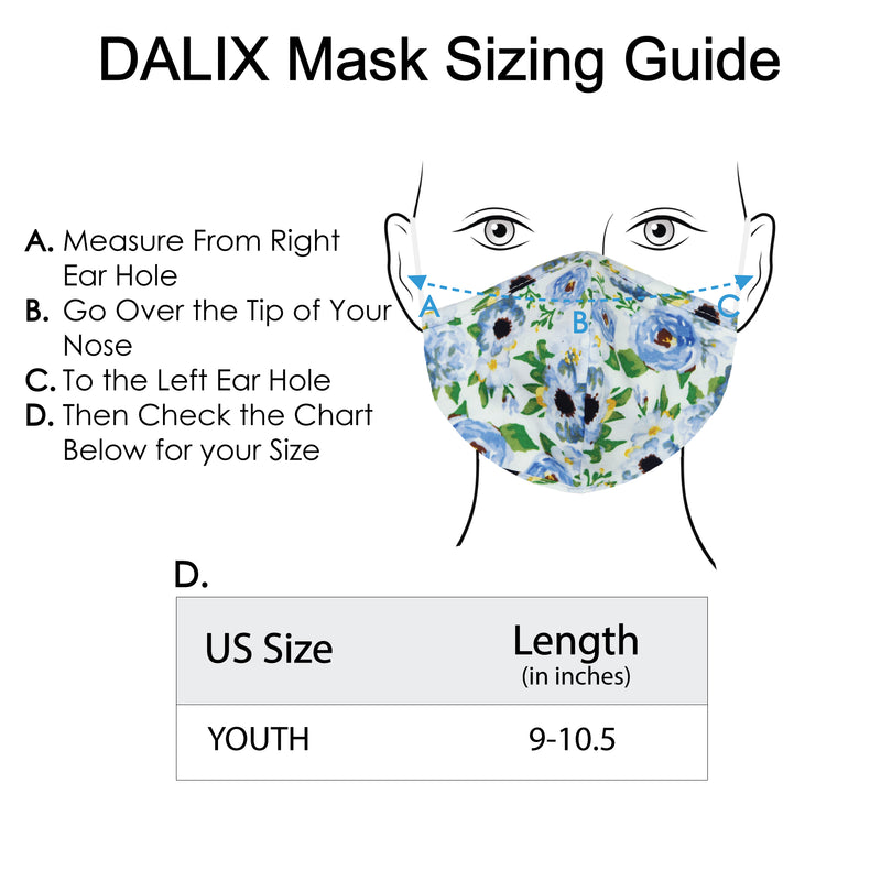 DALIX Youth Floral Cloth Face Mask Reuseable Washable Made in USA - XXS-XS Size