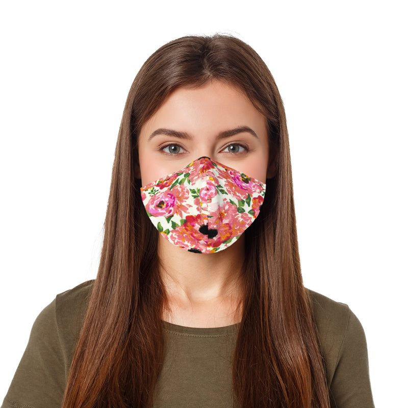DALIX Floral Cloth Face Mask Adjustable Nose Piece Reuseable Washable Made in USA