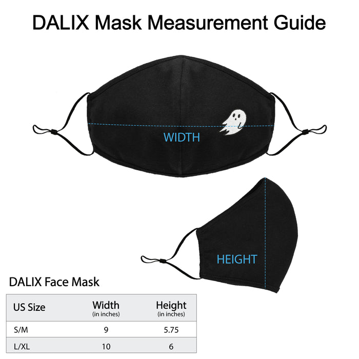 DALIX Embroidered Ghost Cloth Face Masks Reuseable Washable Made in USA