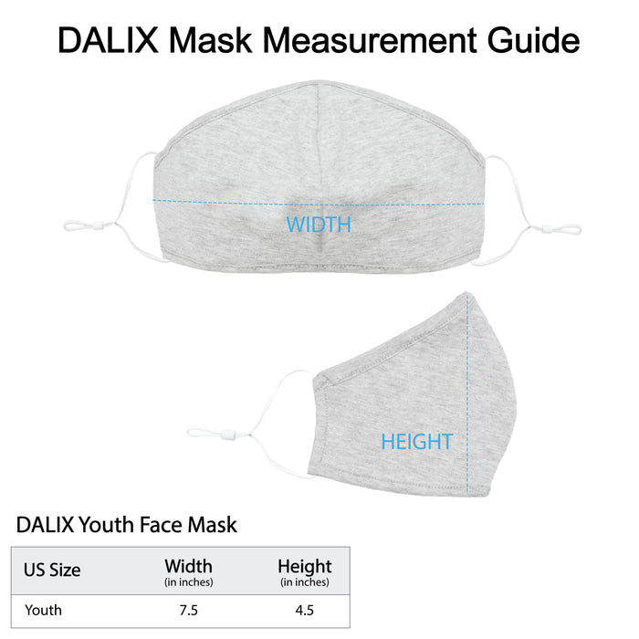 DALIX Kids Cotton Face Mask Reuseable Washable Made in USA - XXS-XS Size (20-Pack)