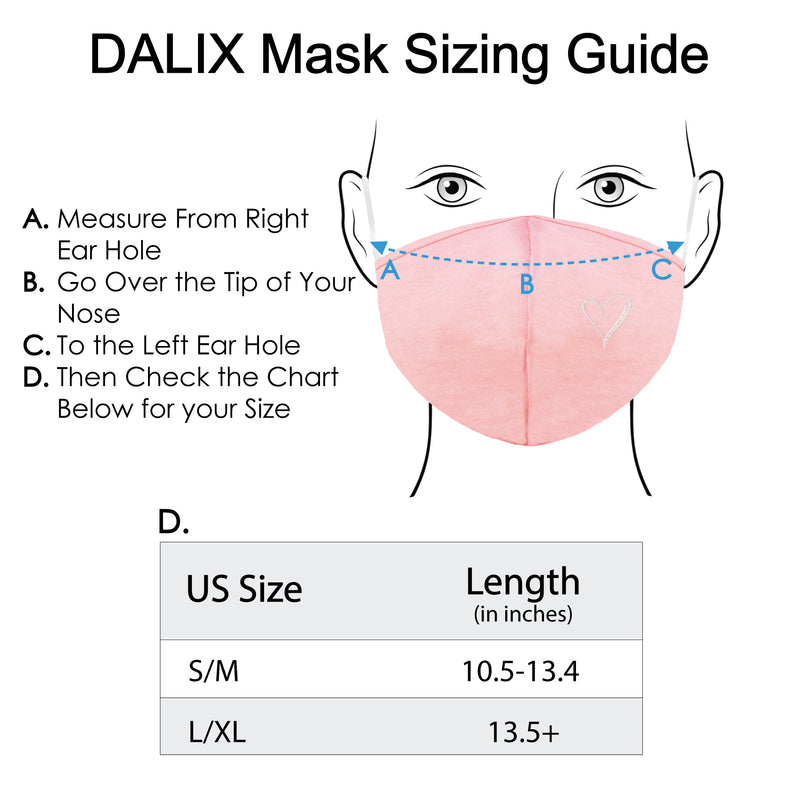 DALIX Womens Embroidered Hand Drawn Heart Cloth Face Masks Reuseable Washable Made in USA