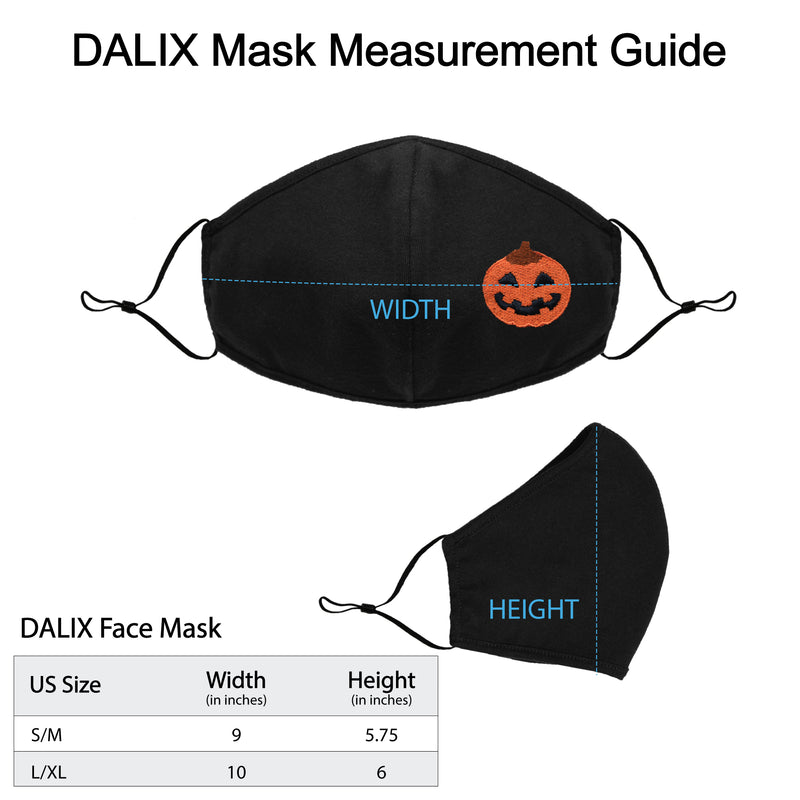 DALIX Embroidered Jack-O-Lantern Cloth Face Mask Reuseable Washable Made in USA