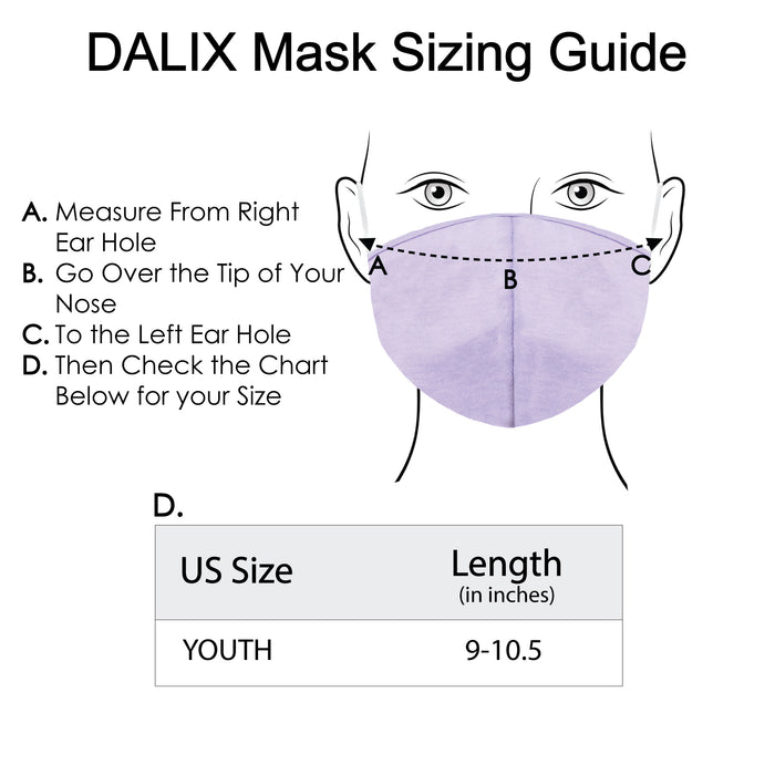 DALIX Kids Cotton Face Mask Reuseable Washable Made in USA - XXS-XS Size