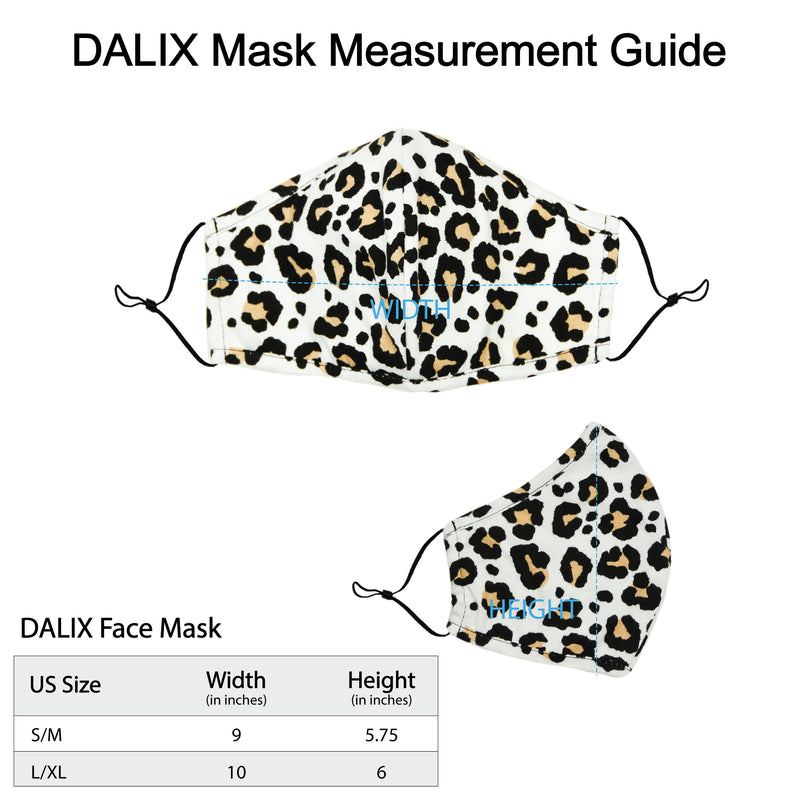 DALIX Leopard Print Cloth Face Masks Reuseable Washable Made in USA