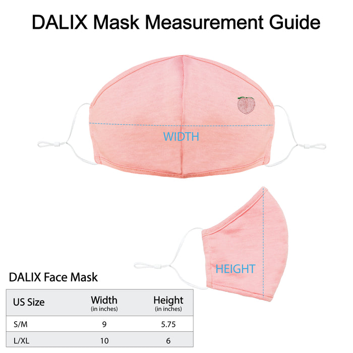DALIX Embroidered Peach Cloth Face Mask Reuseable Washable Made in USA