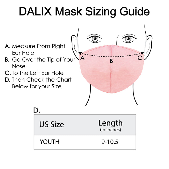 DALIX Kids Cotton Face Mask Reuseable Washable Made in USA - XXS-XS Size 5 Pack