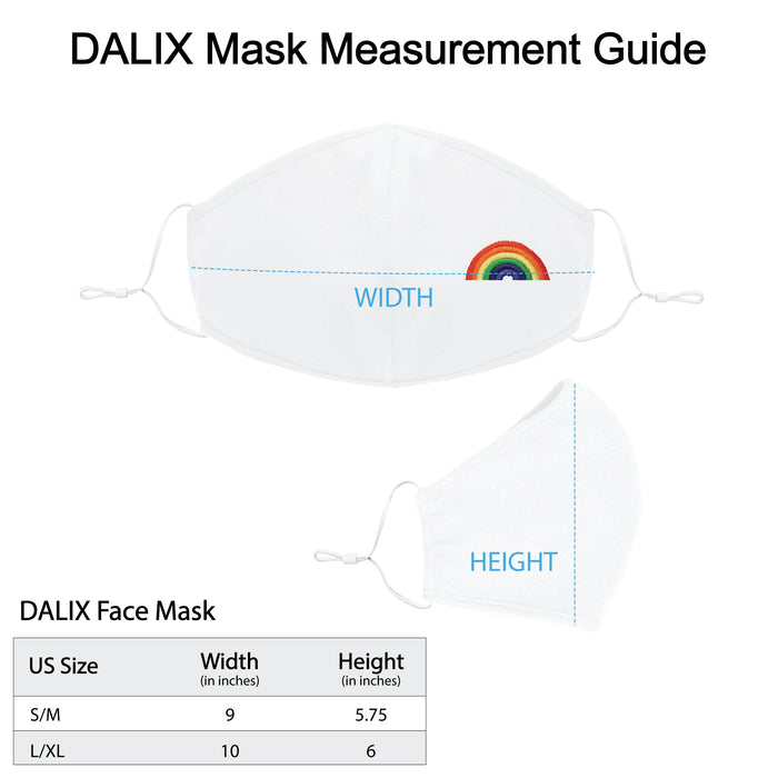 DALIX Embroidered Rainbow Cloth Face Masks Reuseable Washable Made in USA