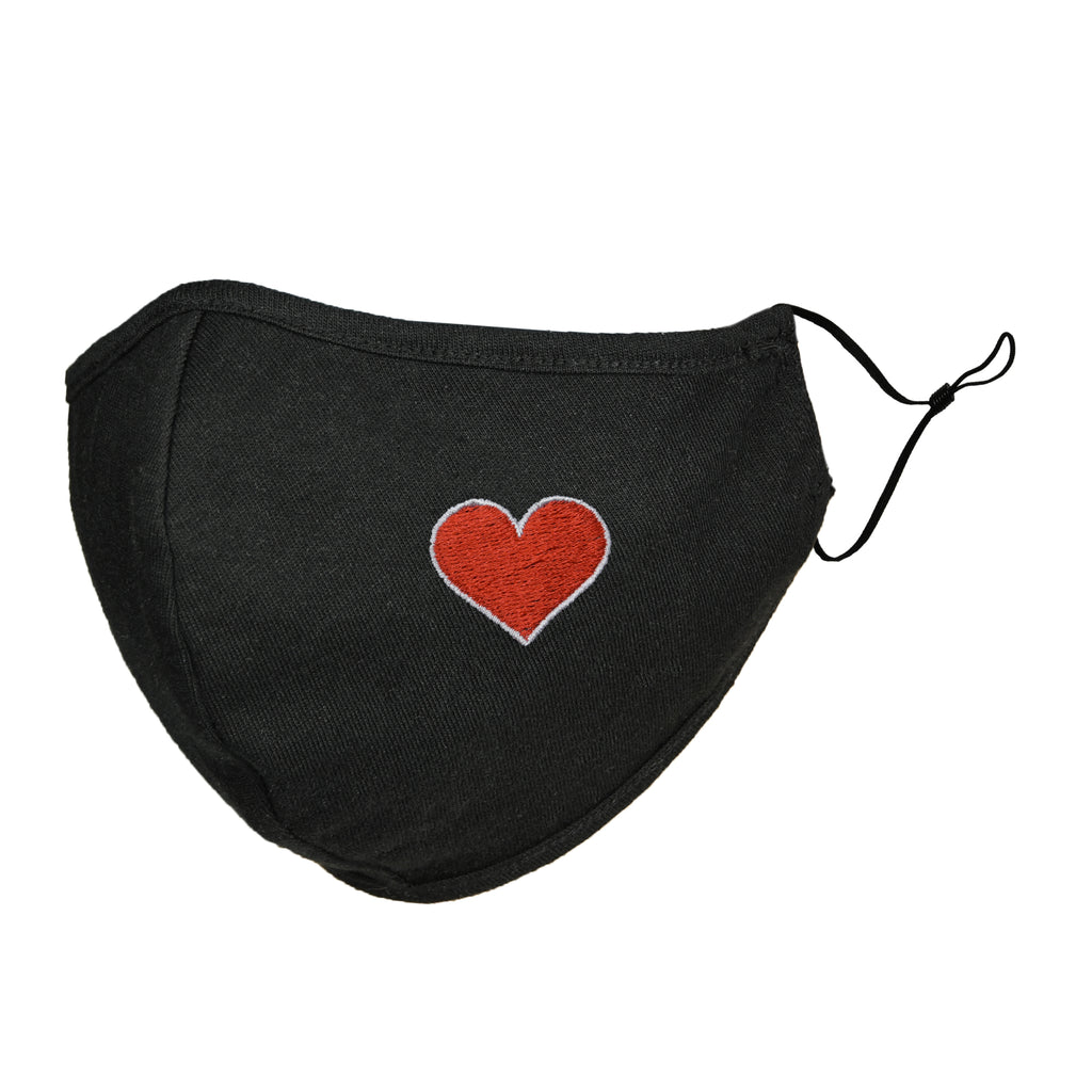 DALIX Womens Embroidered Red Heart Cloth Face Masks Reuseable Washable Made in USA