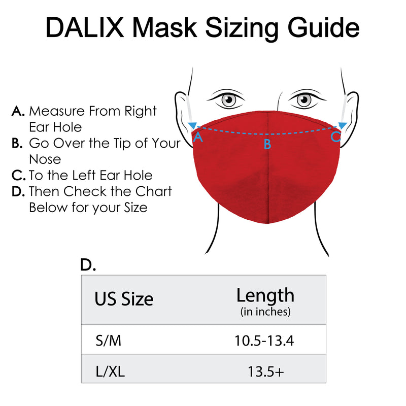 DALIX Cloth Face Mask Reuseable Washable Made in USA - S-M , L-XL Size (3 Pack)